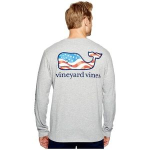 Vineyard Vines Gray Waving Flag Whale Shirt Small